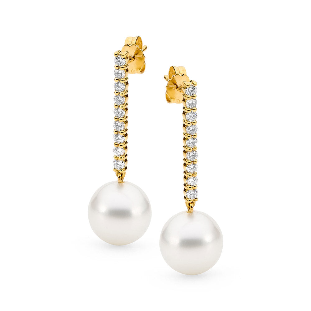 Pave Row Diamond and Pearl Earrings online jewellery shop buy jewellery online jewellers in perth perth jewellery stores wedding jewellery australia diamonds for sale perth gold jewellery perth pearl jewellery