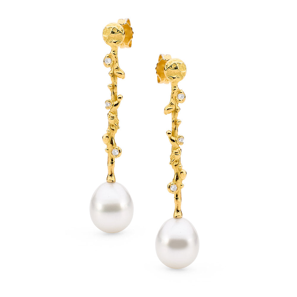 Freeform Pearl and Diamond Earrings online jewellery shop buy jewellery online jewellers in perth perth jewellery stores wedding jewellery australia pearl jewellery