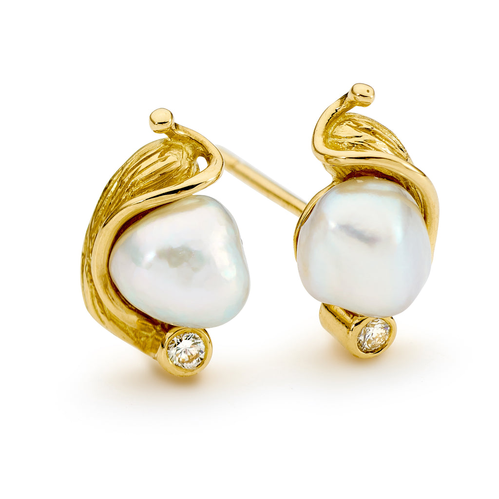 18ct Gold, Pearl and Diamond Earrings