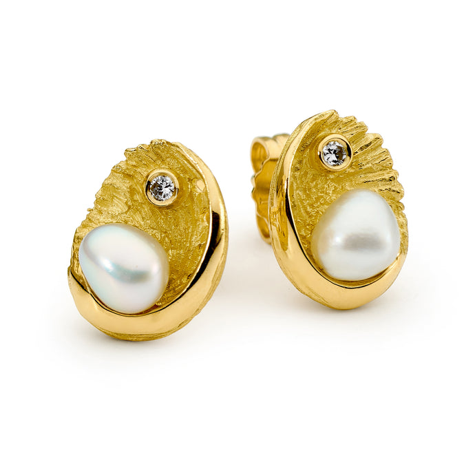 Seedless Pearl and Diamond Earrings