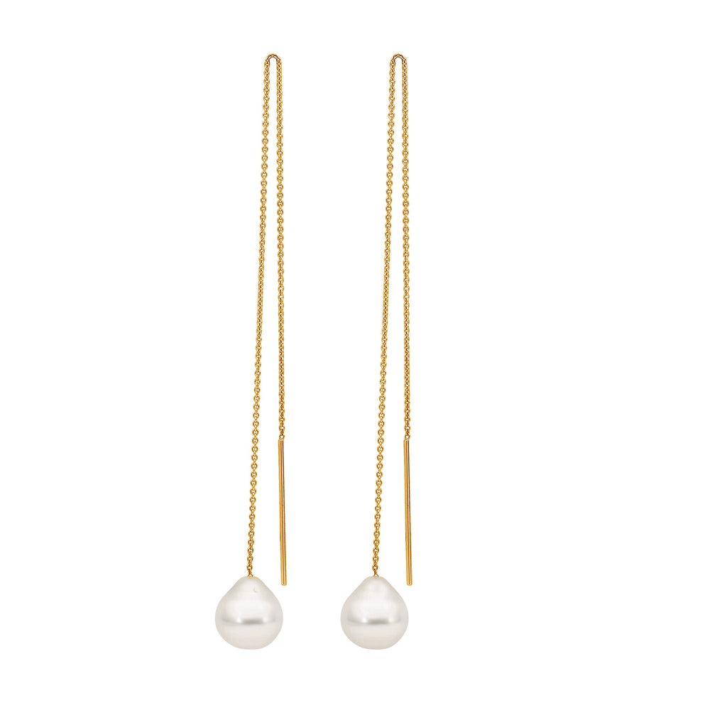 South Sea Pearls Gold Trace Chain Earrings