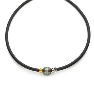 Tahitian Pearl White & Yellow Gold Necklet