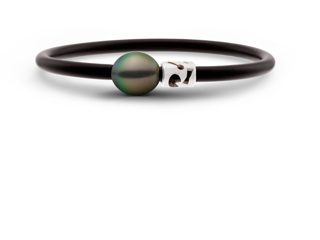 Black Pearl & Sterling Silver Neo Bangle