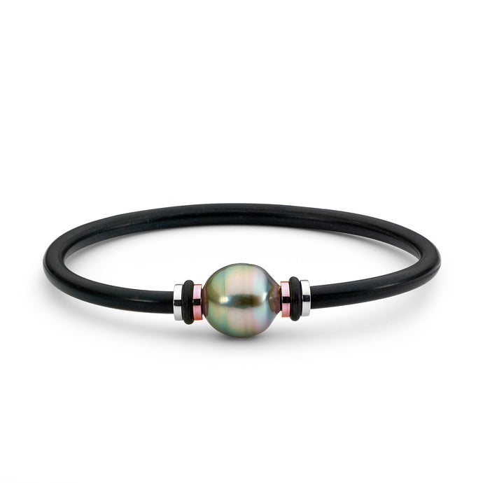 Black Pearl & Rose Gold Bangle
