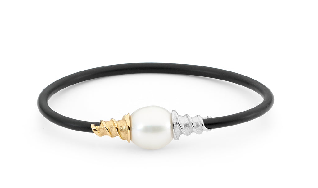 Pearl with White & Yellow Gold Spiral Bangle