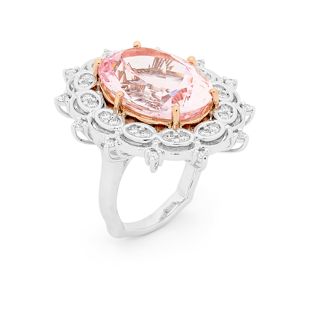 18ct two tone morganite and diamond ring