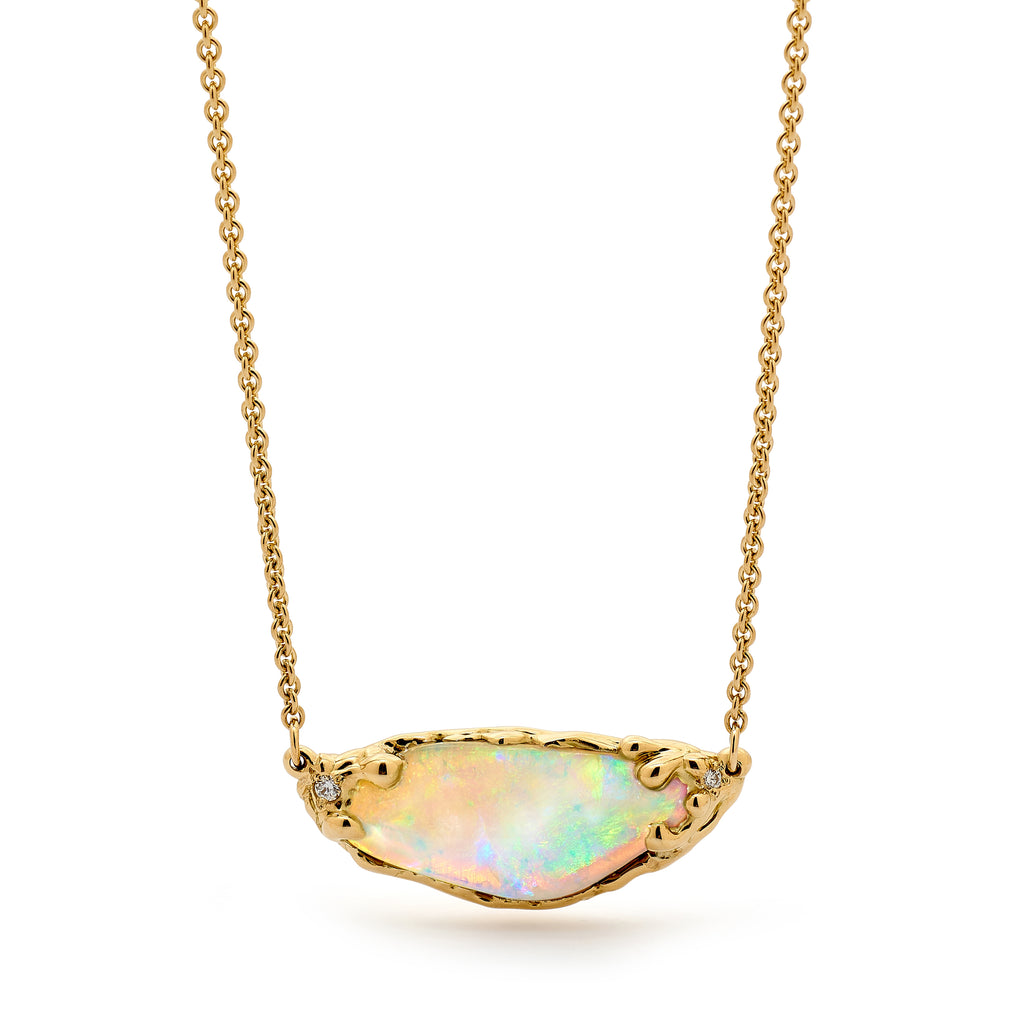 18ct Yellow Gold, Opal and Diamond Necklet
