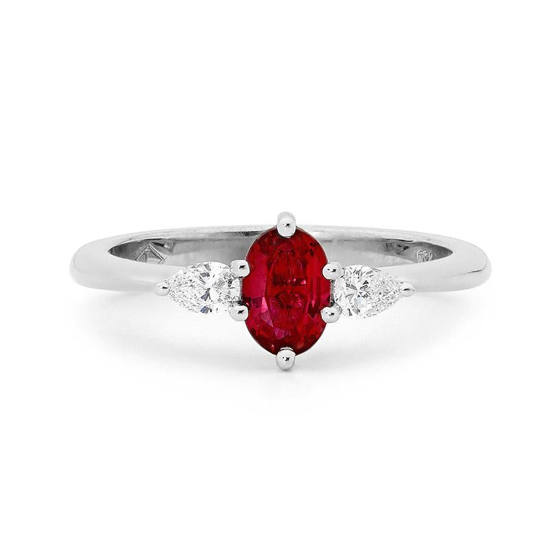 18ct White Gold, Diamond and Ruby Ring