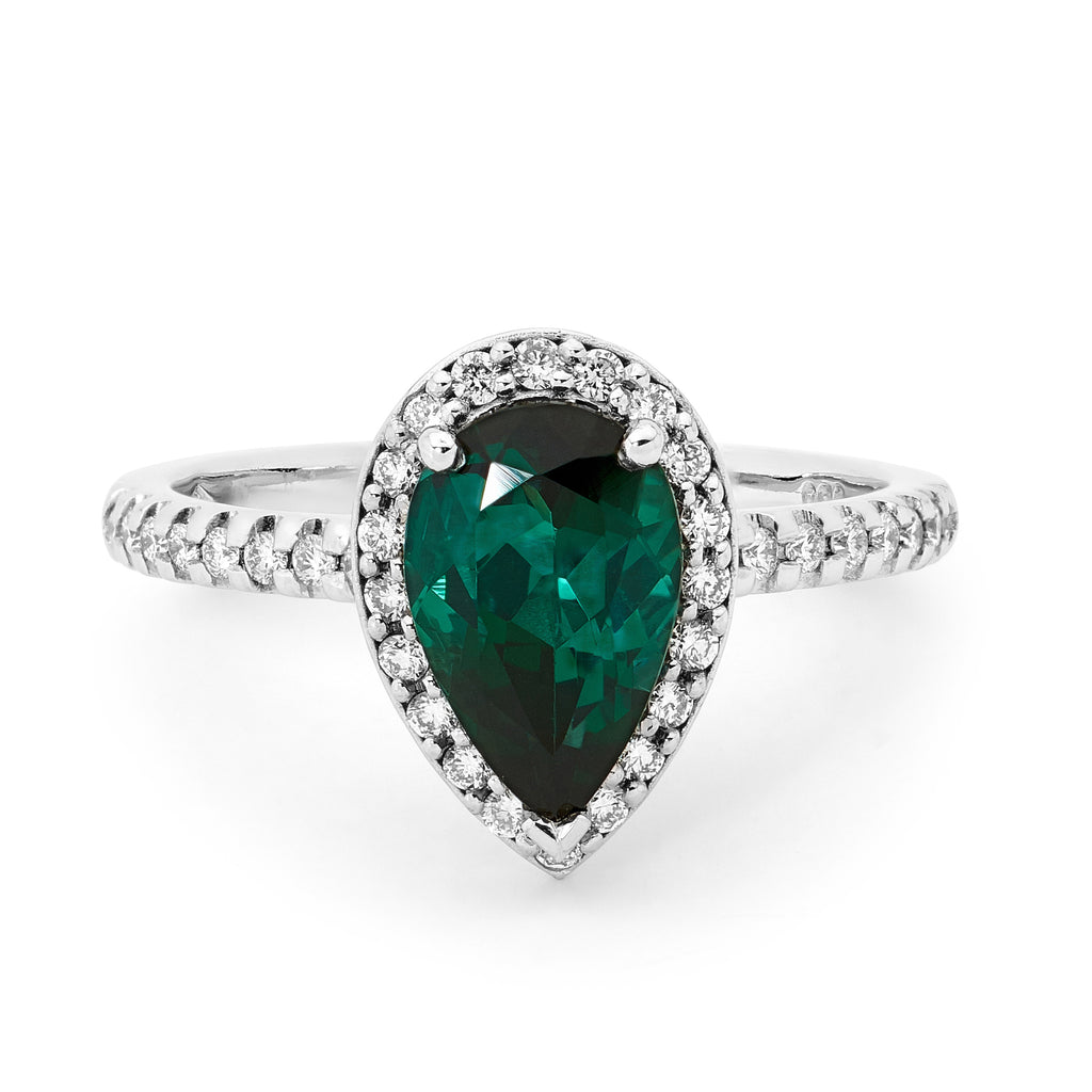 18ct White Gold, Tourmaline and Diamond Ring