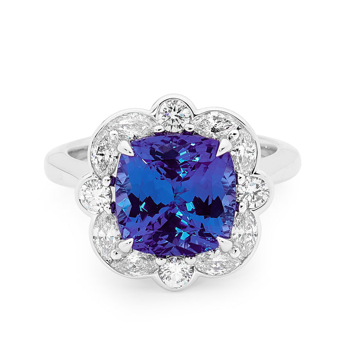 18ct White Gold, Diamond and Tanzanite Ring
