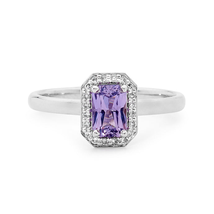 18ct White Gold, Diamond and Purple Sapphire Ring