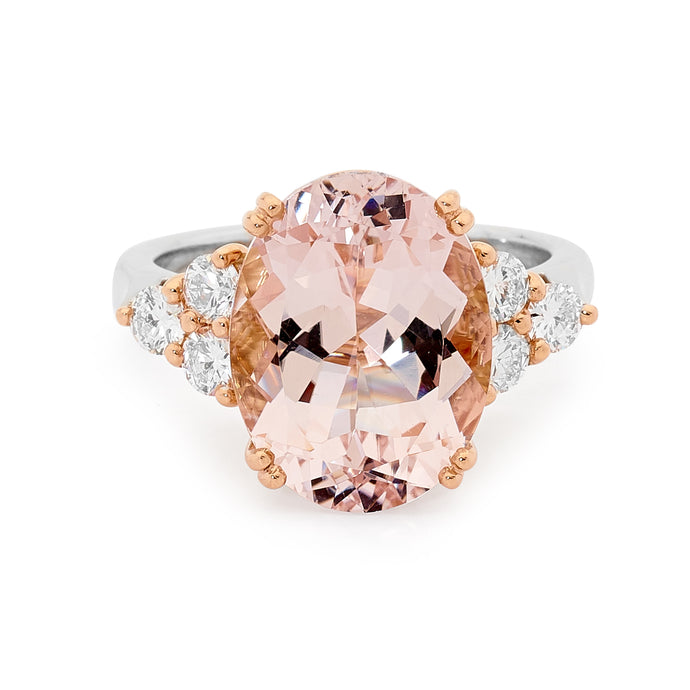 18ct White Gold, Diamond and Morganite Ring
