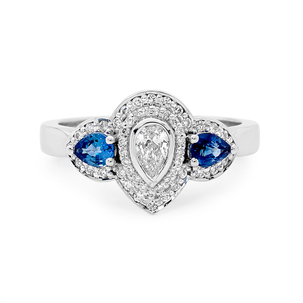 18ct White Gold, Pear Cut Diamond & Sapphire Ring