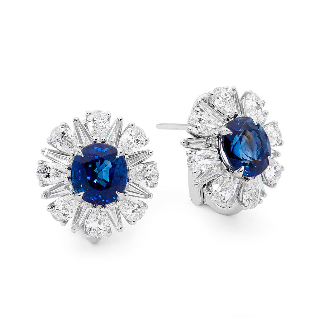 18ct white gold, oval cut sapphire and diamond earrings