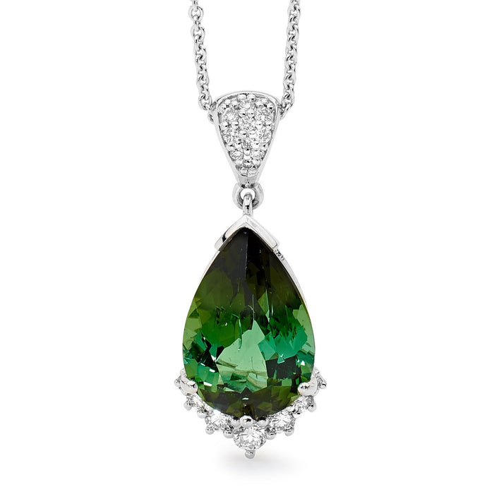 Tourmaline and diamond Pendant