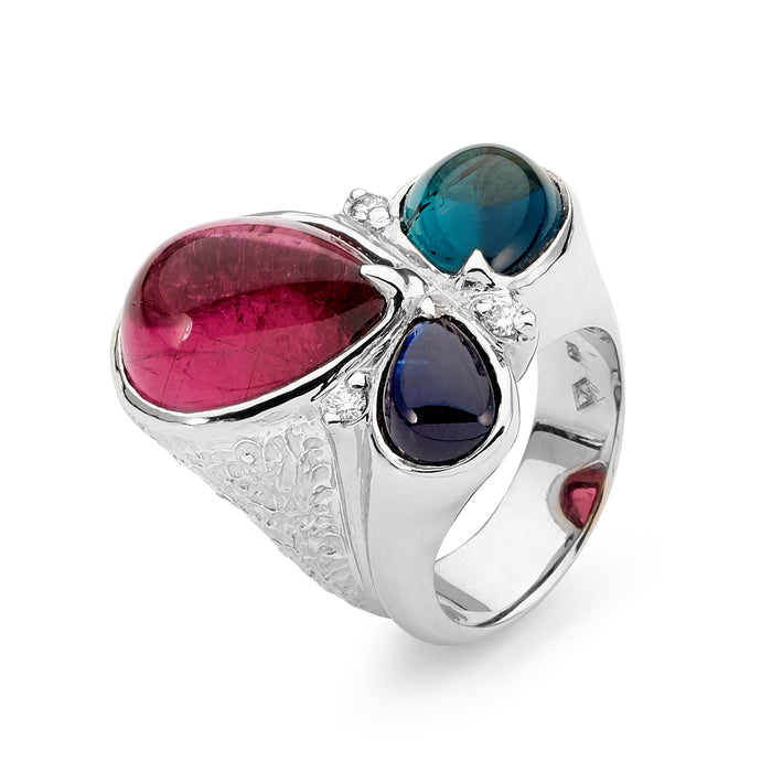 18ct White Gold, Diamond and Gemstone Ring