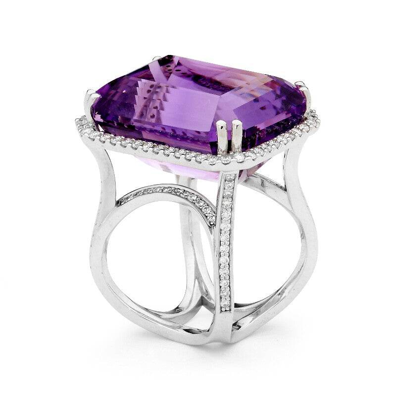 Magnifera Amethyst and Diamond Ring