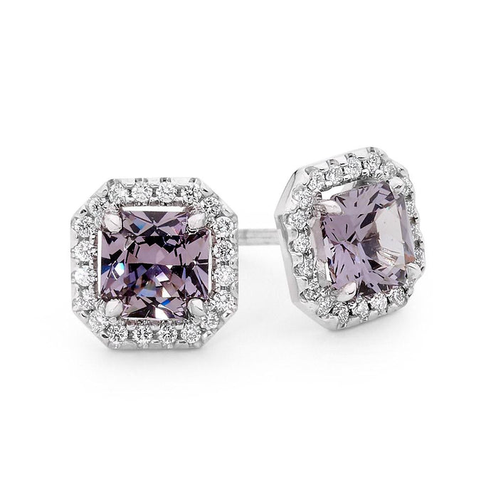 Square Radiant Grey Spinel and Diamond Earrings jewellery stores perth perth jewellery stores australian jewellery designers online jewellery shop perth jewellery shop jewellery shops perth perth jewellers jewellery perth jewellers in perth diamond jewellers perth bridal jewellery australia pearl jewellery