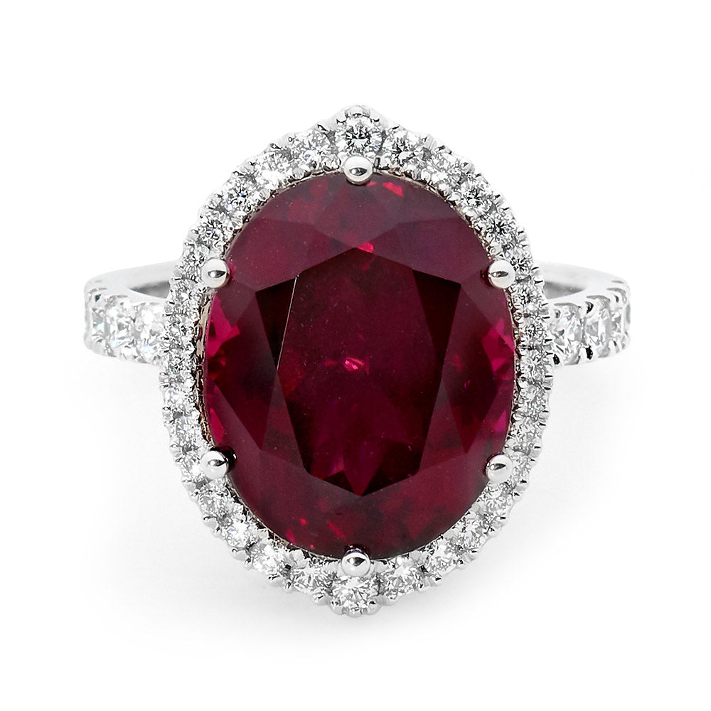 Oval Cut Red Tourmaline Ring