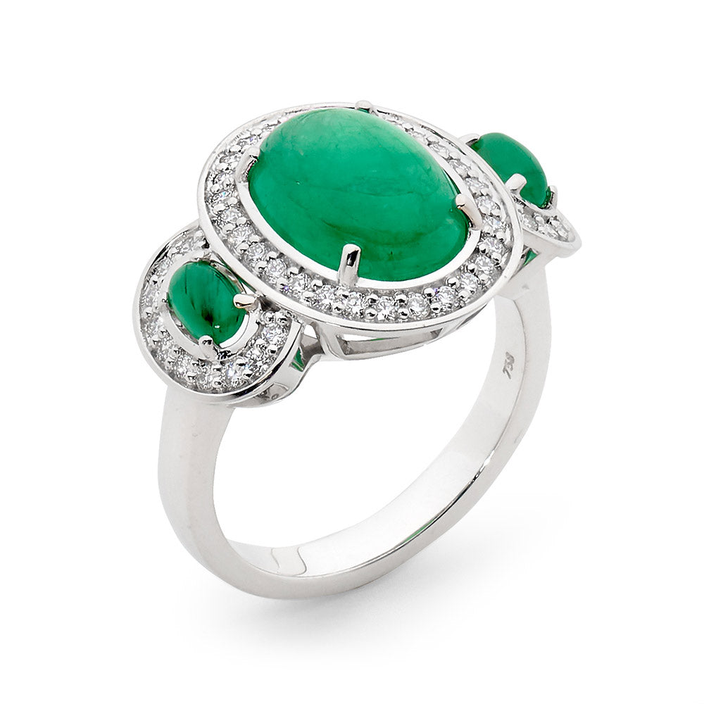 Cabochon Cut Emerald and Diamond Ring