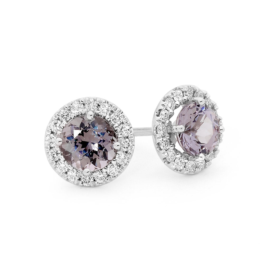 Round Cut Grey Spinel and Diamond Earrings jewellery stores perth perth jewellery stores australian jewellery designers online jewellery shop perth jewellery shop jewellery shops perth perth jewellers jewellery perth jewellers in perth diamond jewellers perth bridal jewellery australia