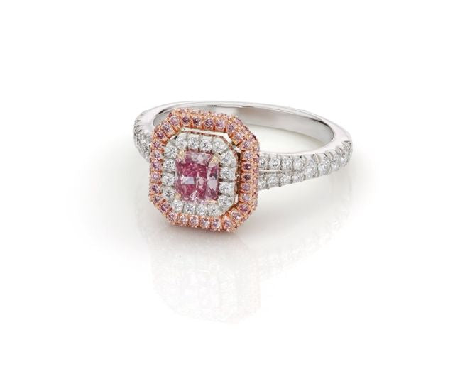 Centre Pink and White Double Halo Diamond Ring