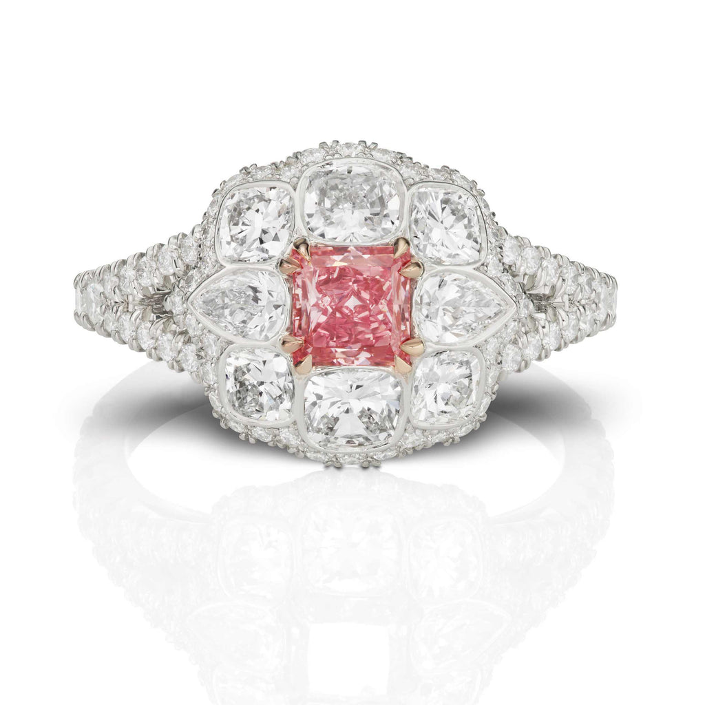 Pear & Cushion Cut Pink and White Diamond Ring