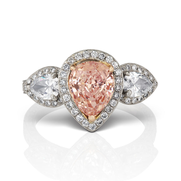 Halo Pink and Pear White Diamond Ring