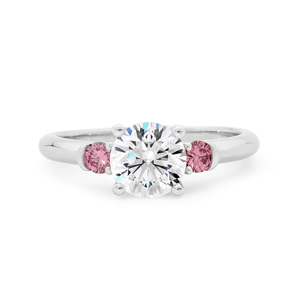 Platinum White and Pink Diamond Ring