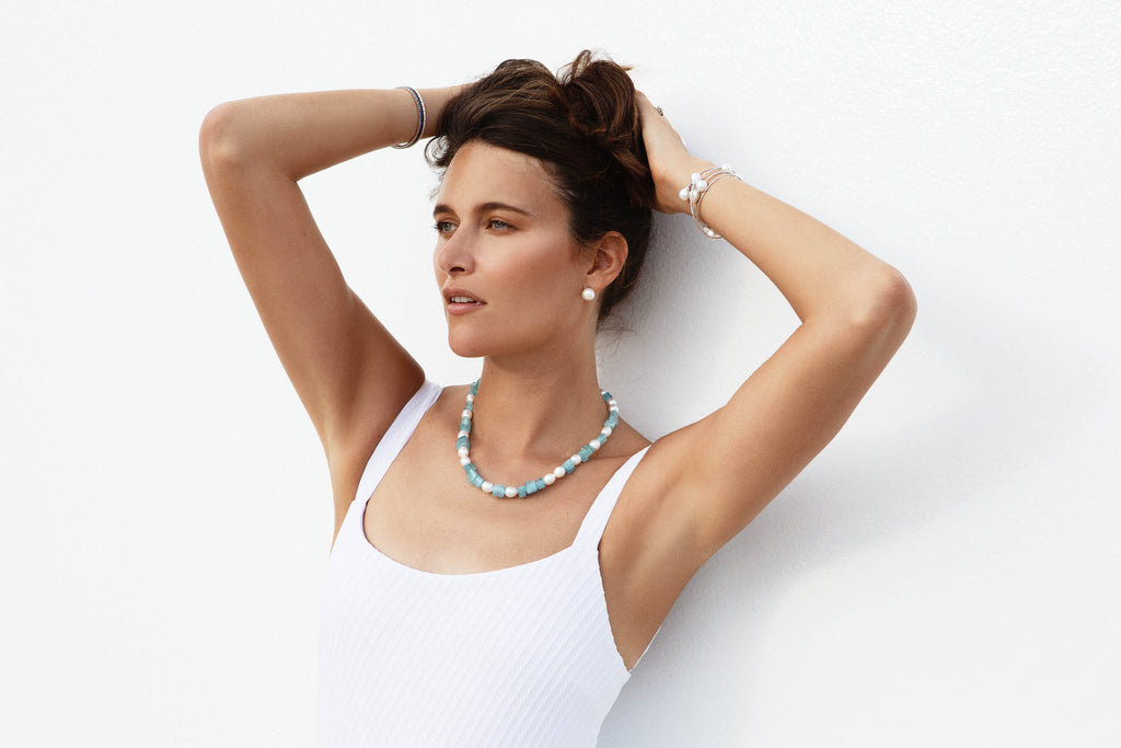 Aquamarine and Pearl Necklace