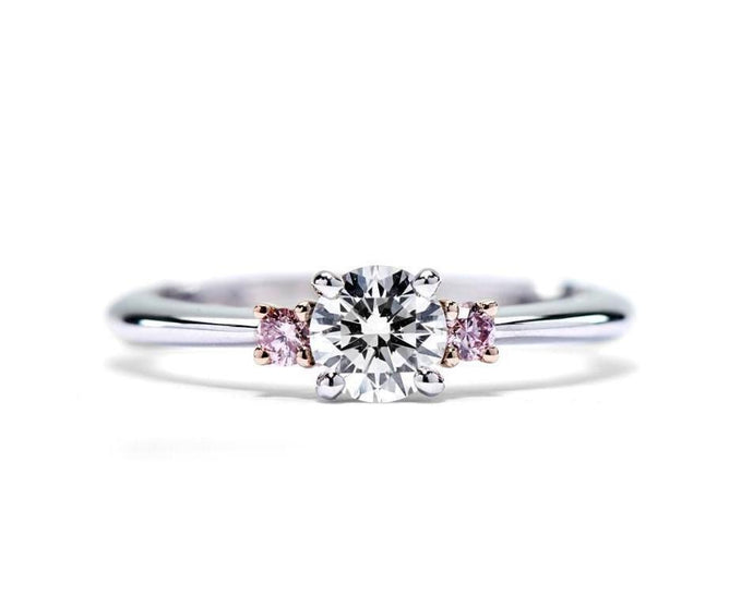 Argyle Pink Pair and White Diamond Ring
