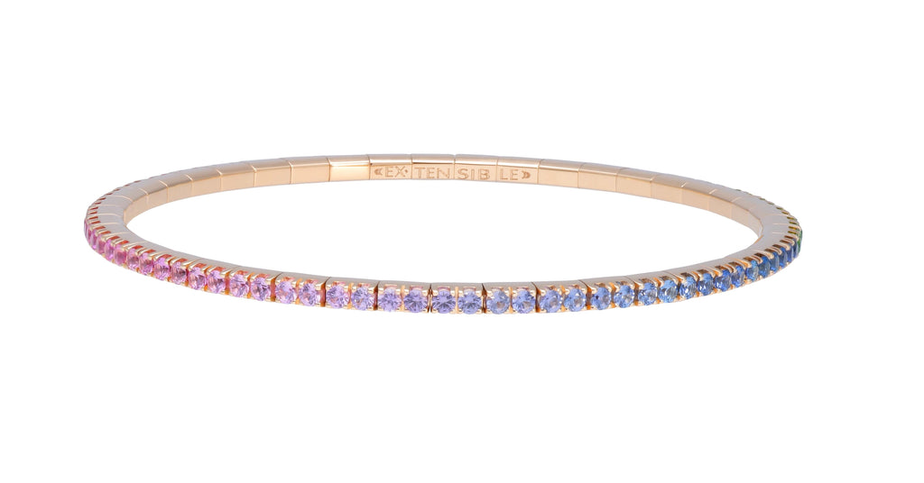 Expandable Rose Gold Multi-Colour Sapphire Bracelet