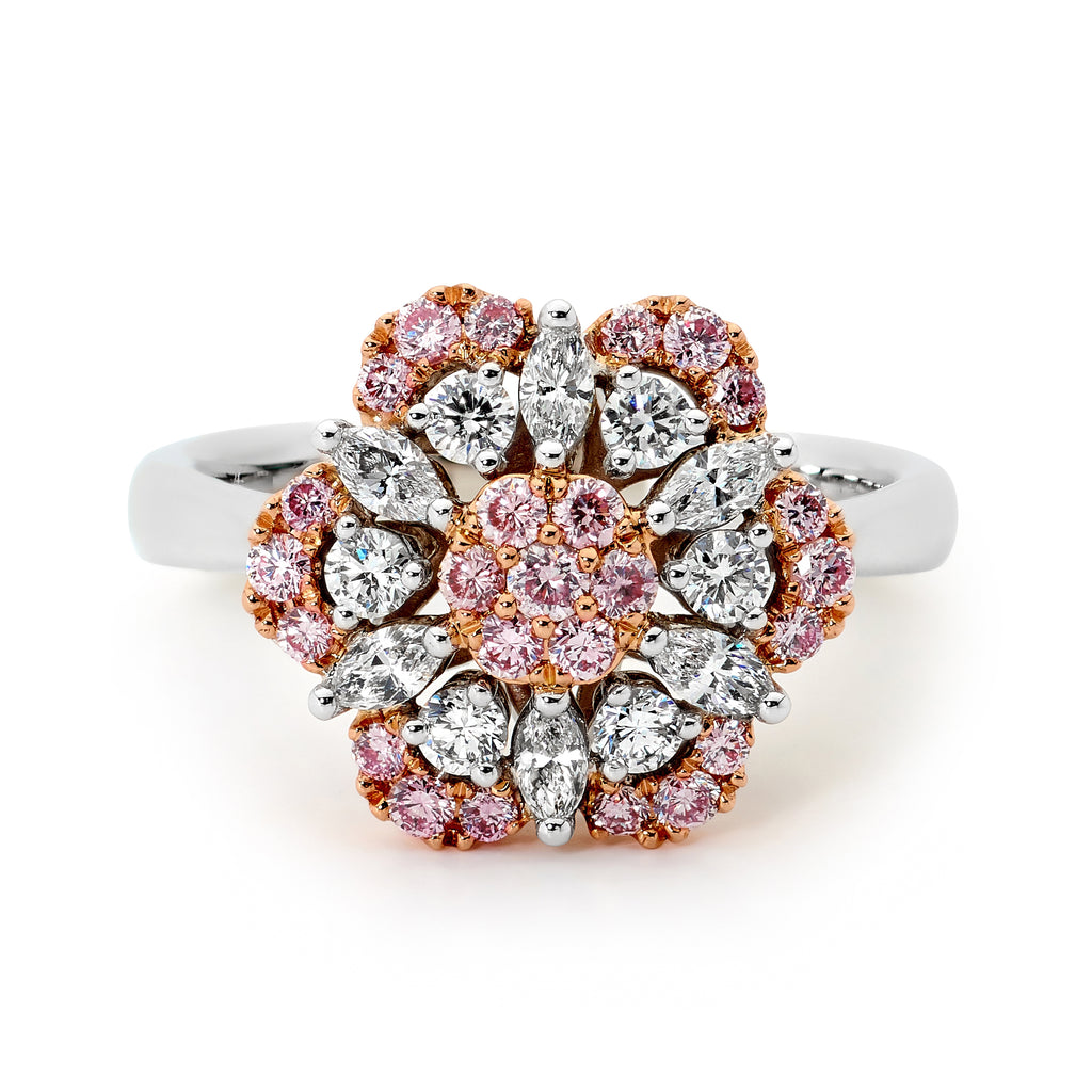 18ct White and Rose Gold Pink Floral Diamond Ring top view Diamond Rings Perth