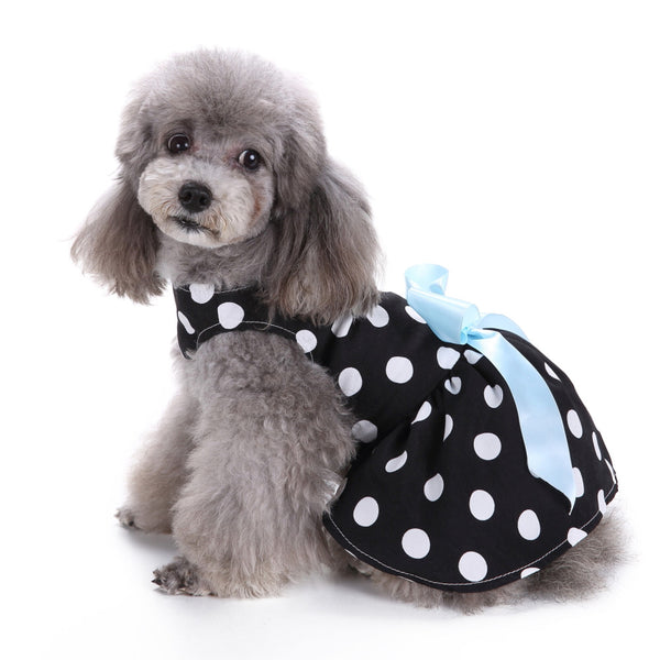 Cute Polka Dot Ribbon Dog Clothes For Small Dogs Girl DRESS