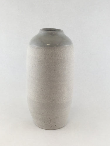 Tall, Matte Grey Flower Bottle w/ Clear Glazed Top