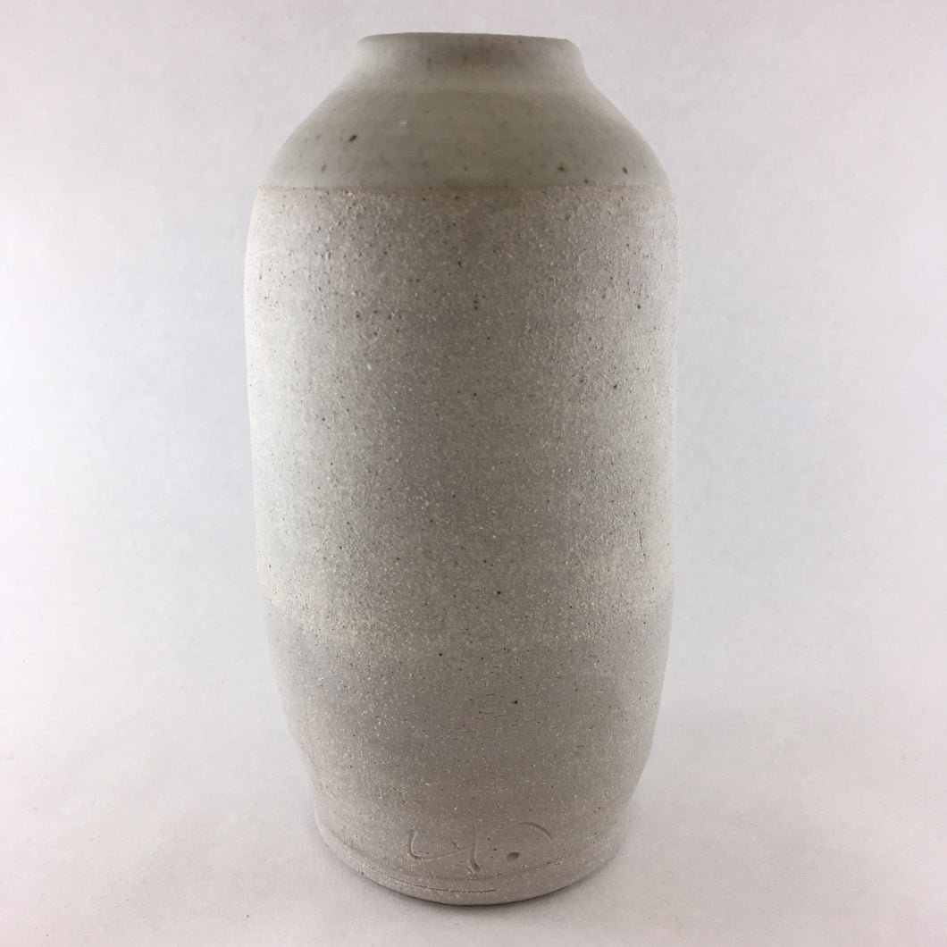Tall Matte Grey Flower Bottle w/ Cream Glazed Top