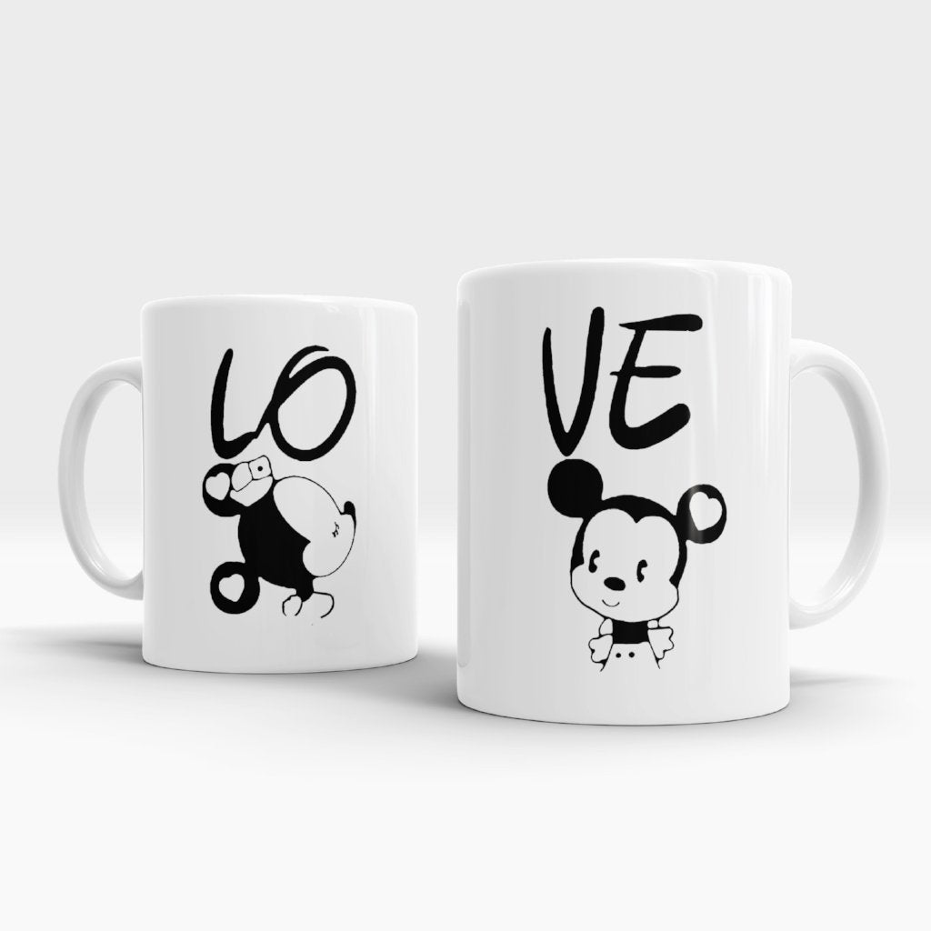 Disney Mickey and Minnie - Matching Couples Mugs Set - Couples Gifts Set