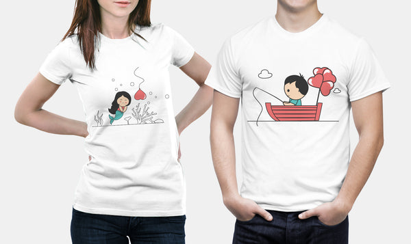 Fishing For Love - Matching Set Couple Shirts Set - Couple Gift Set - Couple Gifts