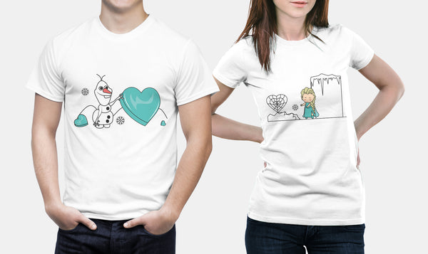 Disney - Frozen - Elsa & Olaf - Matching Couple T Shirt Set - Couples Gifts - Couple Gifts