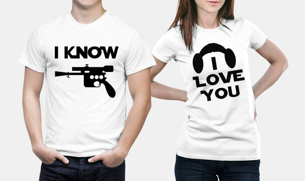 Star Wars - Han Solo & Princess Leia - Matching Couple T Shirt Set - Couples Gifts
