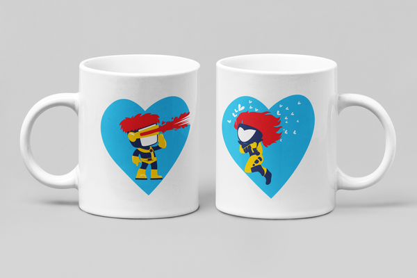 Marvel X-Men - Cyclops & Jean Grey - Matching Couple Mugs Set - Couples Gifts