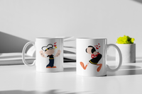 Popeye The Sailor Man - Matching Couple Mugs Set - Couples Gifts - Couple Gifts