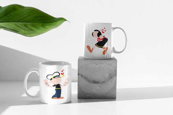 Popeye The Sailor - Matching Couples Mugs Set - Couples Gifts Set