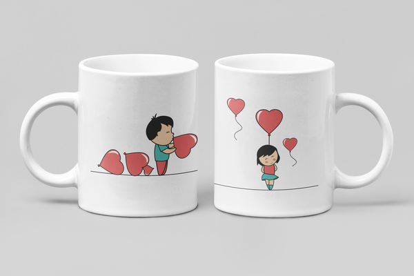 Ballooned With Love - Matching Couple Mugs Set - Couples Gifts