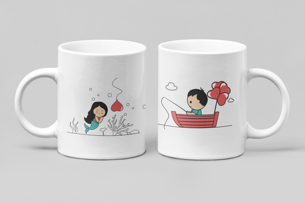 Fishing For Love - Matching Couple Mugs Set - Couples Gifts - Couple Gifts