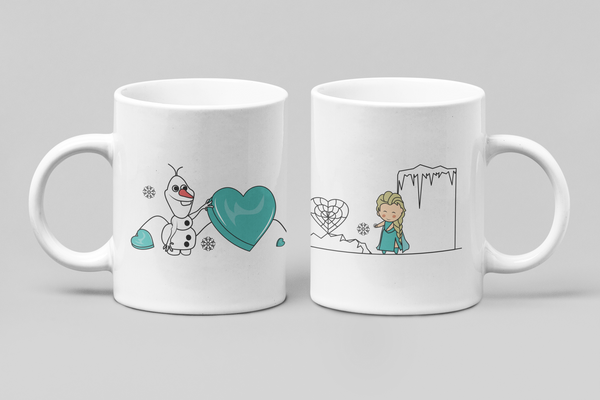 Disney - Frozen - Elsa & Olaf - Matching Couple Mugs Set - Couples Gifts - Couple Gifts