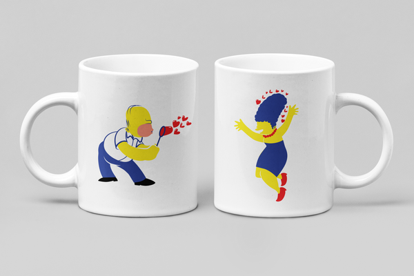 The Simpsons - Homer & Marge - Matching Couple Mugs Set - Couples Gifts