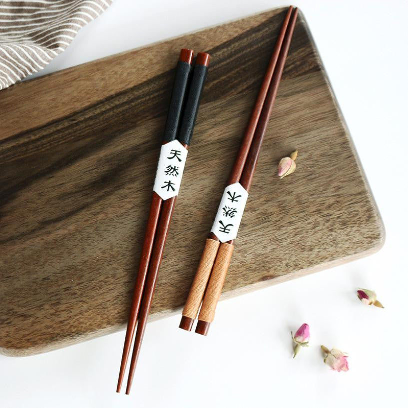 2 Pairs Handmade Japanese Chestnut Wood Chopsticks Couple Gift Set