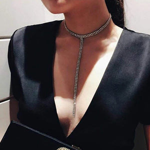 Long Crystal Rhinestone Gem look a like Choker Necklace - Lika Women