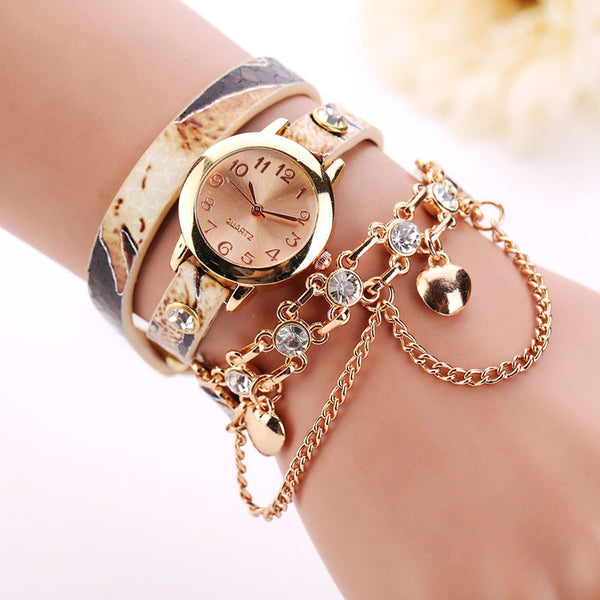 2017 Luxury Rhinestone Gold Leather Bracelet Watch - Lika Women